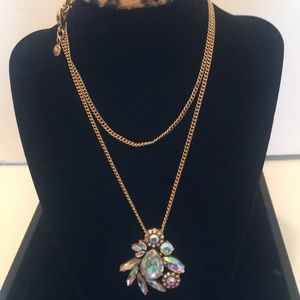 J. Crew long necklace with crystal pendant